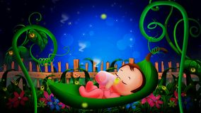 Cute babies cartoon sleeping on leaves cradle ,best loop video background