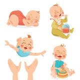 Cute babies in cartoon style Stock Image