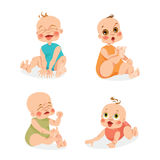Cute babies in cartoon style Stock Photos
