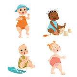 Cute babies in cartoon style Royalty Free Stock Images