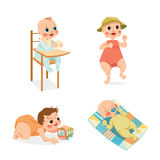 Cute babies in cartoon style Royalty Free Stock Image