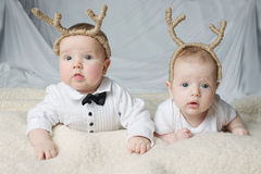 Cute babies with deer horns. On bright background stock image