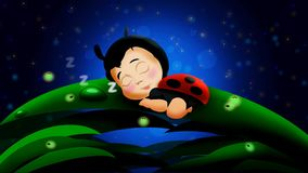 Cute babies ladybug cartoon sleep on leaves and beautiful fireflies in the night at the full sky, best loop video background to pu