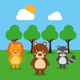 Cute babies lion bear raccoon animals in the forest landscape Stock Photos