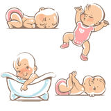 Cute babies in pink clothes. Royalty Free Stock Images