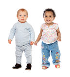 Cute babies standing Royalty Free Stock Photo