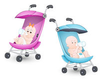 Cute Babies in Stroller Stock Images