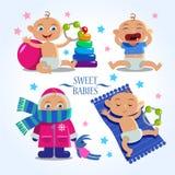 Cute babies. vector set. Royalty Free Stock Photo