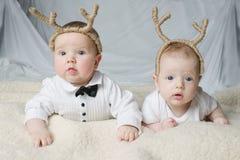 Free Cute Babies With Deer Horns Stock Image - 46346701