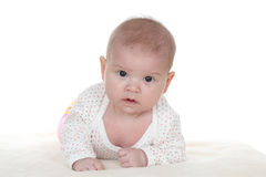 Cute baby. Girl lying on a blanket Stock Photography
