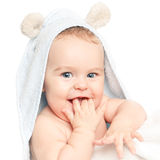 Cute baby. With towel on white Royalty Free Stock Photo
