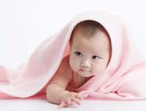 Cute baby. Hide under the pink blanket Stock Photos
