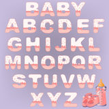 Cute baby alphabet. Cute baby's alphabet with pink letters Royalty Free Stock Photo