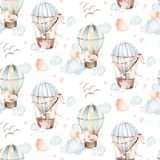 Cute baby animal and air balloon seamless pattern, giraffe and bunny, rabbit illustration for children clothing