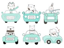 Cute baby animal with car cartoon hand drawn style,for printing,card, t shirt,banner,product.vector