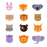 Cute baby animal faces vector set. Heads animal character dog and squirrel, hippopotamus and elephant illustration Royalty Free Stock Images