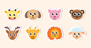Cute baby animal head stickers vector illustration Stock Images