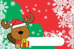 Cute baby beaver santa reindeer hat cartoon background Stock Photo