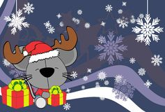 Cute baby mouse santa reindeer hat cartoon background Stock Photography
