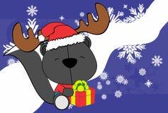 Cute baby skunk santa reindeer hat cartoon background Stock Images