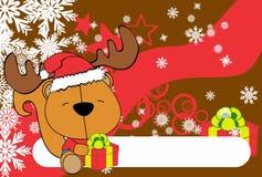 Cute baby squirrel santa reindeer hat cartoon background Royalty Free Stock Image