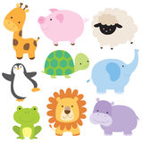Cute Baby Animal. Vector illustration of cute baby animal including giraffe, pig, turtle, sheep, penguin, elephant, frog, lion and hippo Stock Images