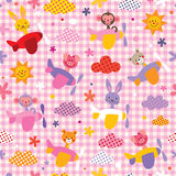 Cute baby animals in airplanes seamless kids pattern Stock Photo
