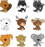 Cute baby animals cartoon background Royalty Free Stock Images