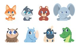 Cute baby animals. Cartoon pet and wild forest animal faces, funny character for greeting cards and invitation flyers stock illustration