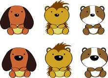 Cute baby animals cartoon set3 Royalty Free Stock Image