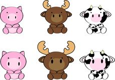 Cute baby animals cartoon set7 Royalty Free Stock Image