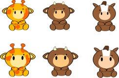 Cute baby animals cartoon set8 Royalty Free Stock Photography