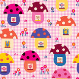 Cute baby animals in mushroom houses kids pattern vector illustration