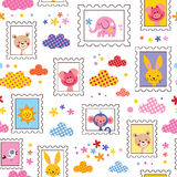 Cute baby animals pattern Royalty Free Stock Images