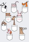 Cute baby animals in a pocket, vector set Royalty Free Illustration