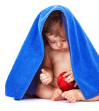 Cute baby with apple fruit royalty free stock photography