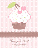 Cute baby arrival announcement card with cupcake Royalty Free Stock Photography