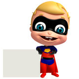 cute baby as a superhero with white board Stock Photo