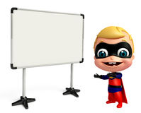 cute baby as a superhero with white board Royalty Free Stock Photography