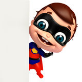 cute baby as a superhero with white board Royalty Free Stock Images