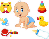 Cute baby with baby toys collection set Royalty Free Stock Image
