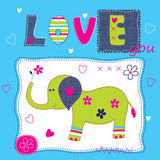 Cute baby background with elephant Royalty Free Stock Image
