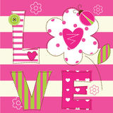 Cute baby background with letters and  ladybug Stock Photos