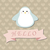 Cute baby background with penguin. Royalty Free Stock Photos