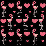 Cute baby background with pink flamingos and heart on a black ba Royalty Free Stock Photo