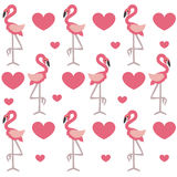 Cute baby background with pink flamingos and heart on a white ba Stock Photos