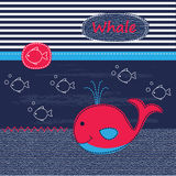 Cute baby background with whale Stock Photography