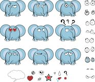 Cute baby ball little elephant cartoon expressions set Royalty Free Stock Image