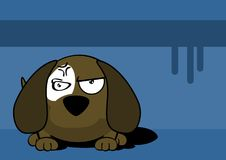 Angry Little ball puppy cartoon expression background Royalty Free Stock Image