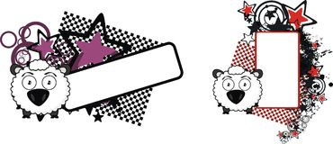 Adorable sheep cartoon expression copyspace set. Cute baby ball sheep cartoon expression copyspace set in vector format very easy to edit Royalty Free Stock Photography